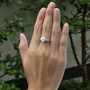あこや本真珠:リング:ダイヤモンド0.37ct