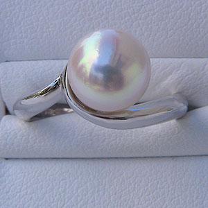 あこや本真珠:リング:シンプル:パール:ピンクホワイト系:9mm:プラチナ:PT900:指輪(アコヤ本真珠)