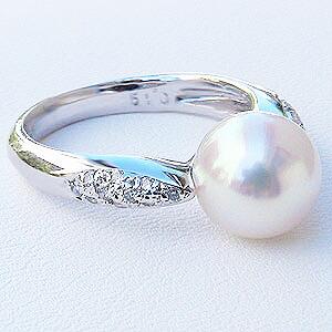 真珠:パール:リング:あこや本真珠:真珠の直径:約8mm:アコヤ本真珠:ダイヤモンド:0.19ct:PT900:プラチナ:指輪