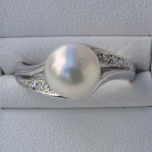 あこや本真珠:リング:ダイヤモンド0.05ct:パールピンクホワイト系:8mm:PT:プラチナ:900