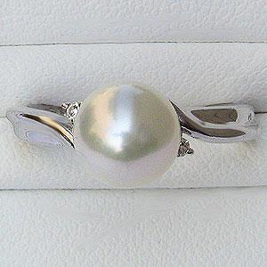 パール:真珠:リング:ダイヤモンド0.03ctあこや本真珠