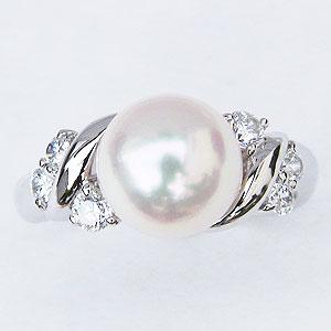 真珠:指輪:パール:リング:あこや本真珠:8.5mm:アコヤ:ピンクホワイト系:ダイヤモンド:0.23ct:ホワイトゴールド:K18WG