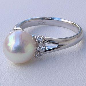 真珠パール 6月誕生石  パールリング あこや真珠 9mm アコヤ真珠 ダイヤモンド K10WG ホワイトゴールド 指輪