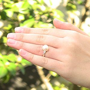 花珠真珠 パールリング 真珠指輪 あこや 花珠 パール プラチナPT900 ダイヤモンド 0.10ct