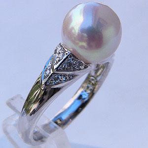 あこや本真珠:リング:ダイヤモンド:0.13ct:パール:ピンクホワイト系:9mm:プラチナ:PT900:指輪(アコヤ本真珠)