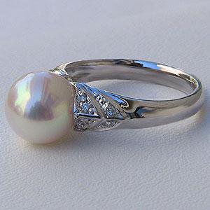 あこや本真珠:リング:パールピンクホワイト系:9mm