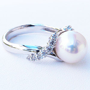 あこや本真珠:リング:ダイヤモンド:0.23ct:パール:ピンクホワイト系:8mm:ホワイトゴールド:K18WG:指輪(アコヤ本真珠)