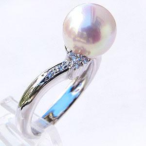 パール:リング:真珠:指輪:あこや本真珠:8mm:ピンクホワイト系:アコヤ:ダイヤモンド:0.14ct:プラチナ:PT900