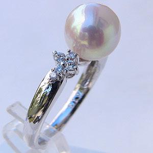 ブライダル リング パール 指輪 あこや真珠パールリング K18ホワイトゴールド ダイヤモンド