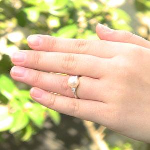 6月誕生石 リング パール 指輪 あこや真珠パール K10WG ホワイトゴールド リング ダイヤモンド