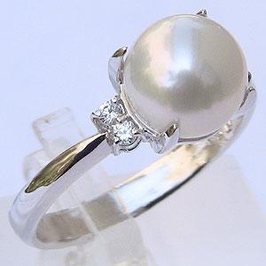 パール:真珠:リング:ダイヤモンド0.06ct