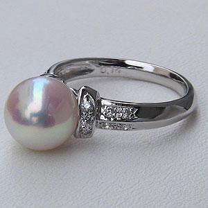 あこや本真珠:リング:ダイヤモンド:0.06ct:パール:ピンクホワイト系:9mm:プラチナ:PT900:指輪(アコヤ本真珠)