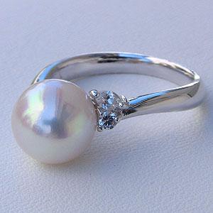 あこや本真珠:リング:ダイヤモンド:0.17ct:パール:ピンクホワイト系:9mm:PT900:プラチナ:指輪(アコヤ本真珠)