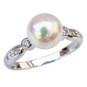 あこや本真珠:リング:ダイヤモンド0.09ct