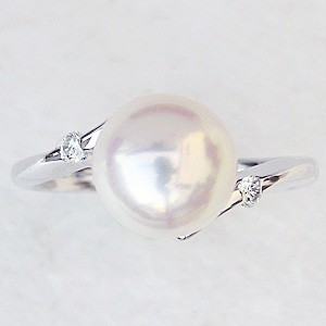 花珠真珠 パールリング 真珠指輪 あこや真珠 9mm パール 純プラチナ PT999 ダイヤモンド 0.08ct