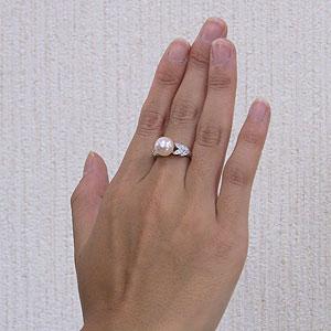 あこや本真珠:リング:ダイヤモンド:0.12ct:パール:ピンクホワイト系:9mm:PT:プラチナ:900:指輪(アコヤ本真珠)
