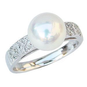 あこや本真珠:リング:ダイヤモンド:0.08ct:パール:ピンクホワイト系:9mm:PT900:プラチナ:指輪(アコヤ本真珠)