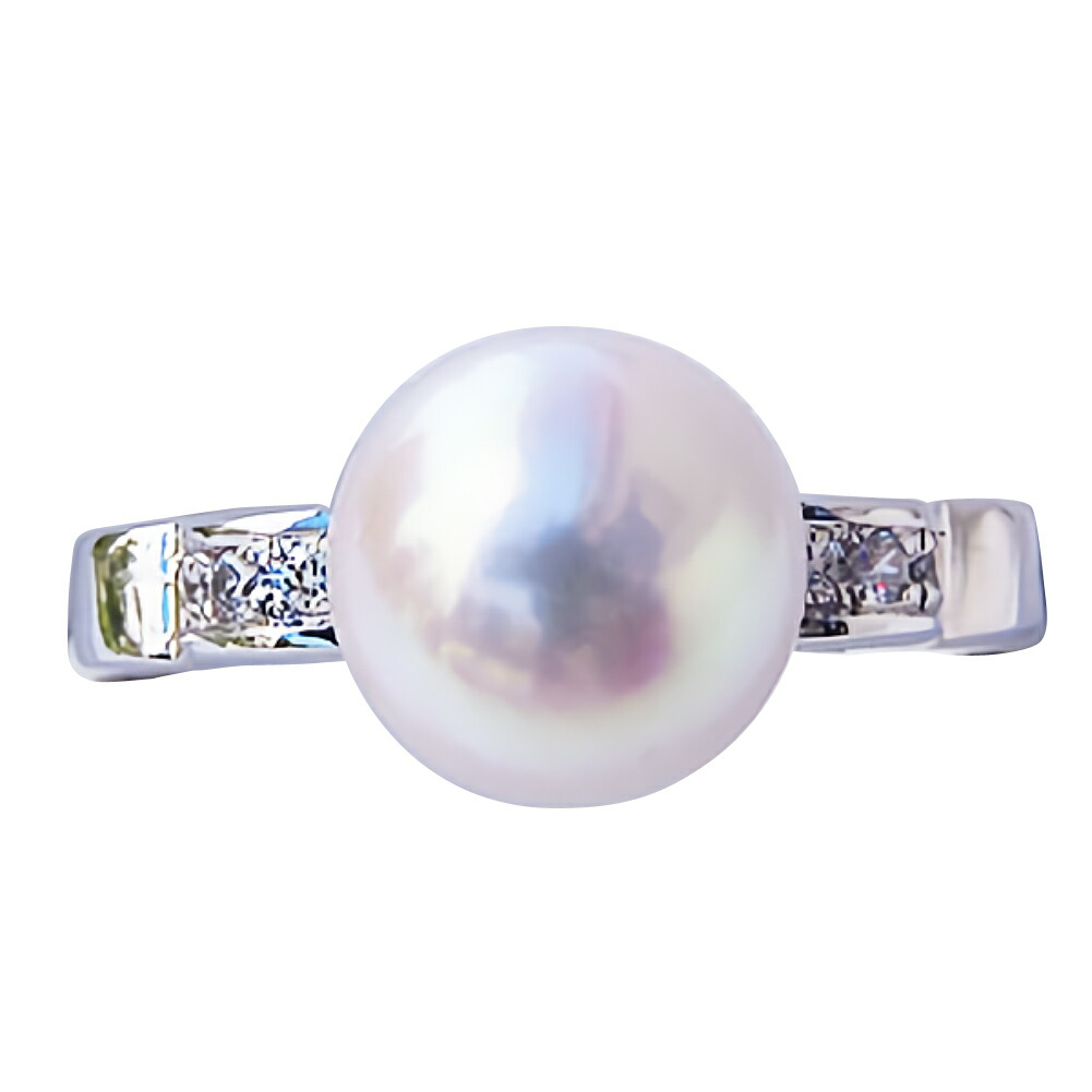 あこや本真珠:リング:ダイヤモンド0.08ct
