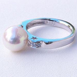 パール:リング:真珠:指輪:あこや本真珠:8.5mm:アコヤ:ピンクホワイト系:ダイヤモンド:0.08ct:ホワイトゴールド:K18WG