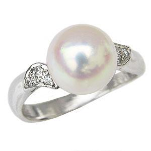 真珠パール リング あこや本真珠 指輪 PT900 プラチナ 真珠の直径9mm ピンクホワイト系 ダイヤモンド 6石 0.04ct 指輪 6月誕生石