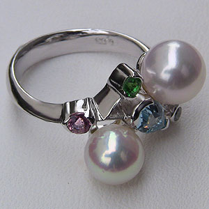 アコヤ本真珠:リング:ダイヤモンド:パール:ピンクホワイト系:7mm・8mm:K18WG:ホワイトゴールド:指輪
