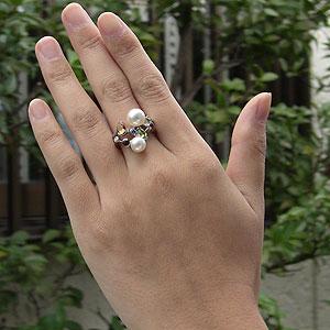 アコヤ本真珠:リング:ダイヤモンド:パール:ピンクホワイト系:7mm・8mm