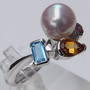 アコヤ本真珠:リング:ダイヤモンド:パール:ピンクホワイト系:9mm