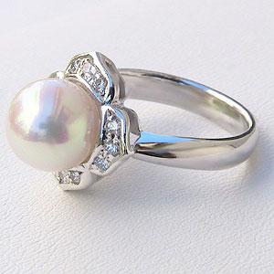 パール:リング:真珠:指輪:あこや本真珠:8.5mm:アコヤ:ピンクホワイト系:ダイヤモンド:0.12ct:プラチナ:PT900