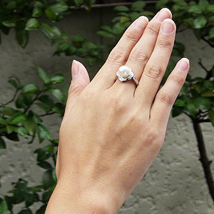 パール:リング:真珠:指輪:あこや本真珠:8mm:アコヤ:ピンクホワイト系:ダイヤモンド:0.12ct:ホワイトゴールド:K18WG