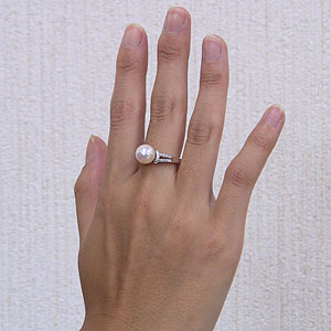 あこや本真珠:リング:ダイヤモンド:0.19ct:パール:ピンクホワイト系:9mm:プラチナ:PT900:指輪(アコヤ本真珠)