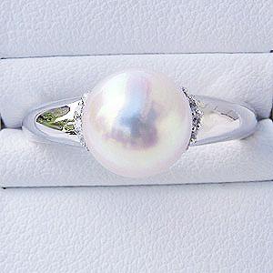 パール:リング:真珠:指輪:あこや本真珠:8mm:ピンクホワイト系:アコヤ:ダイヤモンド:0.09ct:ホワイトゴールド:K18WG