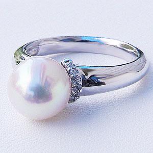 リング パール 指輪 あこや真珠パールリング ホワイトゴールド ダイヤモンド ジュエリー