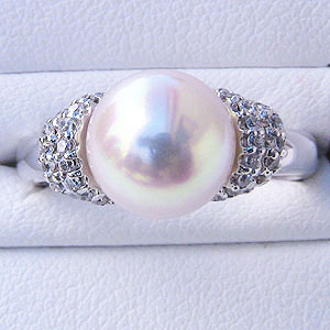 あこや本真珠:リング:ダイヤモンド0.21ct