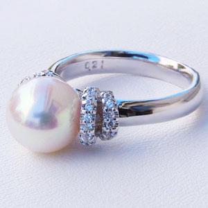 アコヤ パール リング あこや本真珠 9mm 真珠 指輪 ダイヤモンド K10WG ホワイトゴールド リング