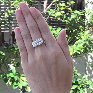 あこや本真珠:リング:ダイヤモンド0.12ct:パールピンクホワイト系:3mm:PT900:プラチナ