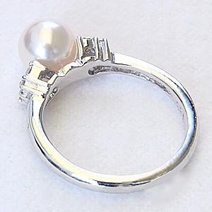 真珠パール リング あこや本真珠 K18WG ホワイトゴールド 真珠の直径7mm ピンクホワイト系 ダイヤモンド 8石 計0.18ct 指輪