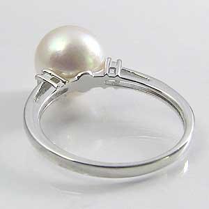 リング パール 指輪 あこや真珠パール K18WG ホワイトゴールド リング ダイヤモンド