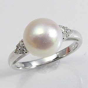 真珠:パール:指輪:リング:あこや本真珠:9mm:ピンクホワイト:ダイヤモンド:PT900:プラチナ