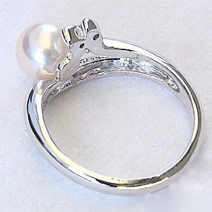 真珠パール リング あこや本真珠 PT900 プラチナ 真珠の直径7mm ピンクホワイト系 ダイヤモンド 2石 計0.01ct 指輪