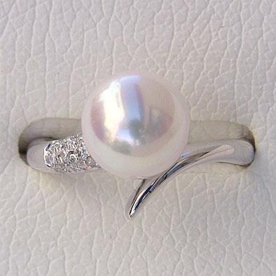 あこや本真珠リング ピンクホワイト系 9mm