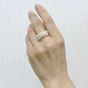 パール 指輪 あこや真珠パールリング K18ゴールド ダイヤモンド ジュエリー