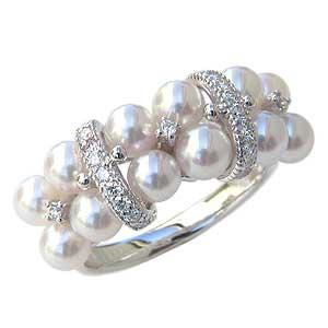 リング パール 指輪 あこや真珠パールリング PT900 プラチナ ダイヤモンド ジュエリー