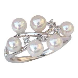 真珠 指輪 あこや本真珠 パール リング ダイヤモンド ホワイトゴールド