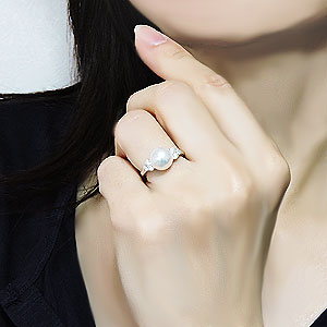 真珠パール リング あこや本真珠 リング K10WG ホワイトゴールド 真珠の径9mm ダイヤモンド 指輪