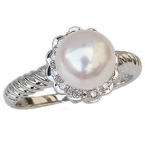 パールリング 真珠指輪 プラチナ PT900 あこや本真珠 8mm ダイヤモンド付