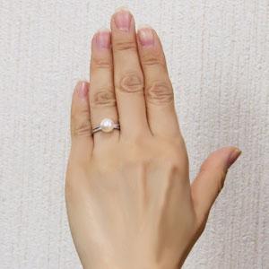 パールリング 真珠指輪 プラチナ PT900 あこや本真珠 8ミリ カットリング