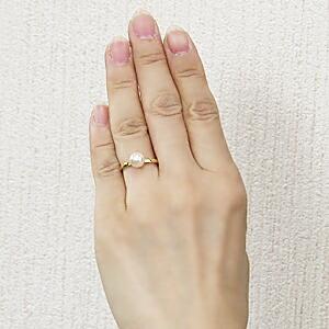 あこや本真珠 パールリング シンプル指輪 K18 ゴールド カットリング 7mmパール