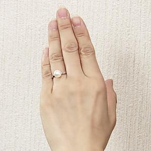 あこや本真珠 パールリング シンプル指輪 PT900 プラチナ デザインカットリング 8ミリパール