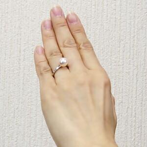 あこや本真珠 パールリング シンプル指輪 PT900 プラチナ デザインカットリング 9ミリパール