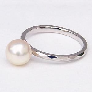 あこや本真珠 パールリング シンプル指輪 PT900 プラチナ デザインカットリング 7ミリパール
